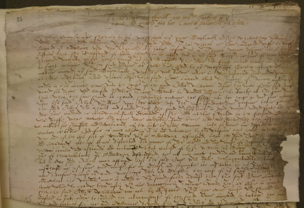 Allys Whittingham, William Bealey and Margery his wife. QJF 24/1/25 (1594)