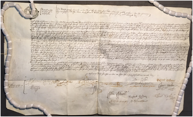 Information signed by JPs concerning complaints against Sir Thomas Tresham, 1603. The National Archives, E 163/16/19.