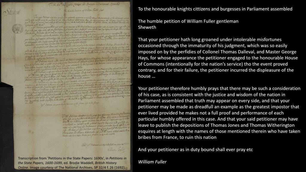 1692, petition of William Fuller