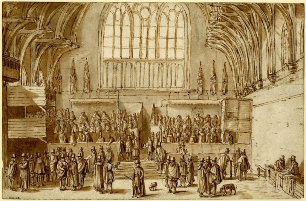 View of the north end of Westminster Hall, showing the Courts of Chancery and King's Bench in session with lawyers in gowns. The British Museum, early seventeenth century (available under Creative Commons license)
